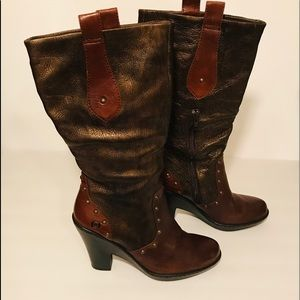 Born Brown Leather Studded Boots